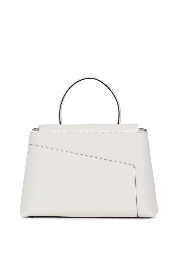 Valextra Twist 3 White Leather Top Handle Bag