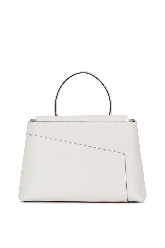 Valextra Twist 3 White Leather Top Handle Bag