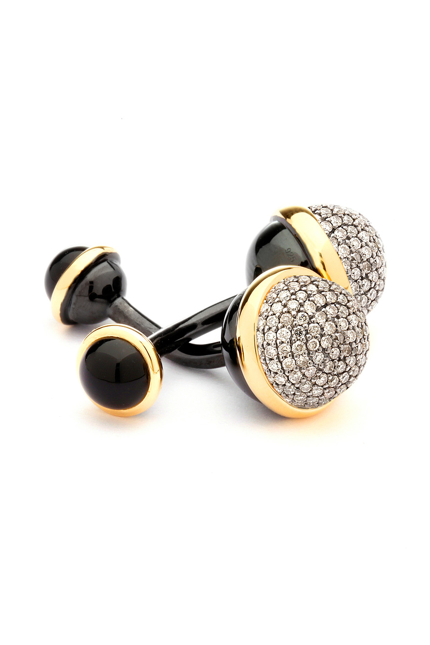 Black Onyx Champagne Diamond Bauble Cuff Links