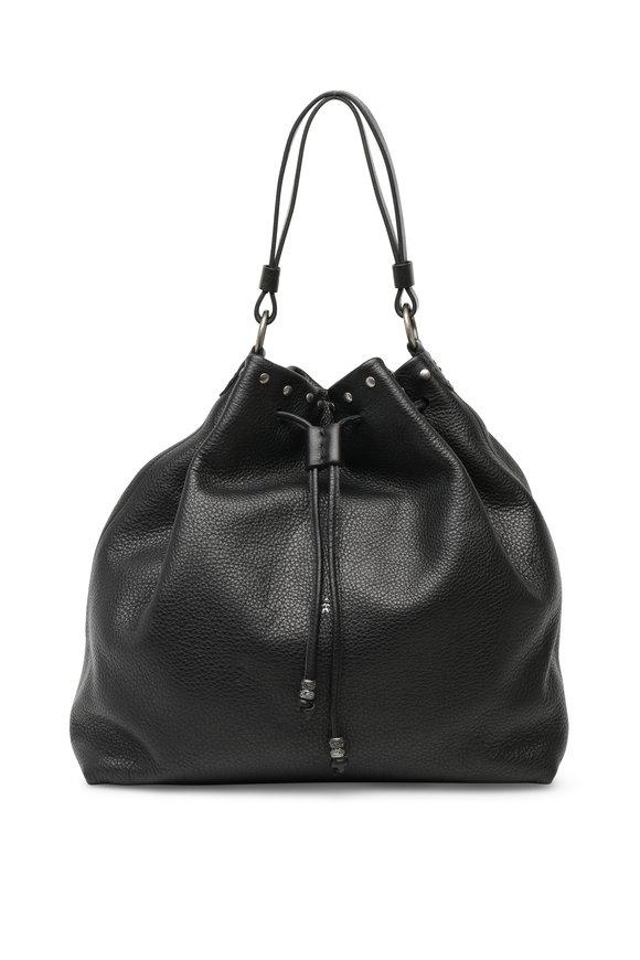 Henry Beguelin Black Grained Leather Studded Bucket Bag