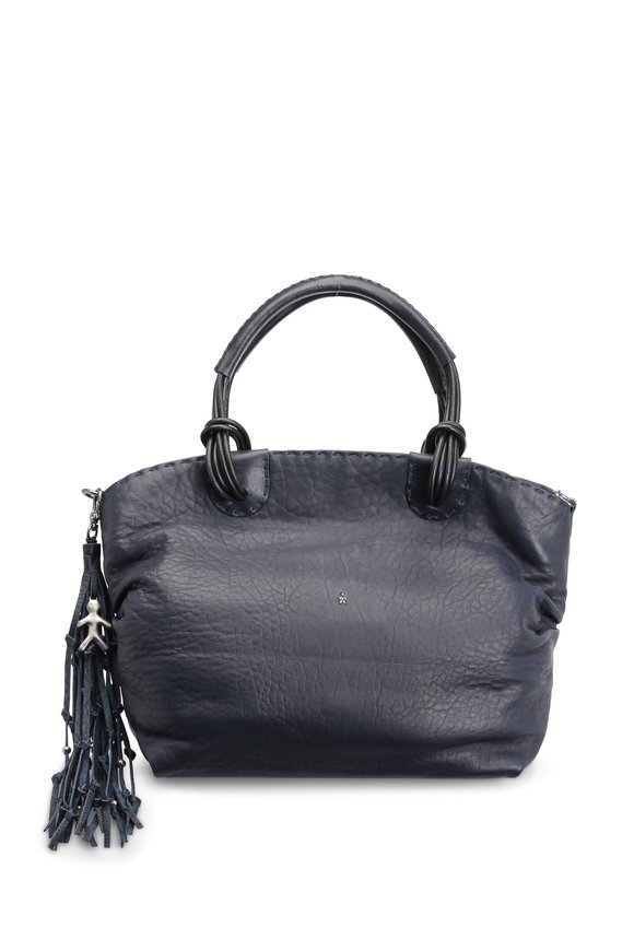 Henry Beguelin Angelica Navy Blue Leather Satchel