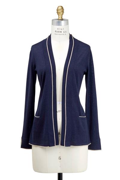 Rani Arabella - Navy Blue & Taupe Cashmere Cardigan