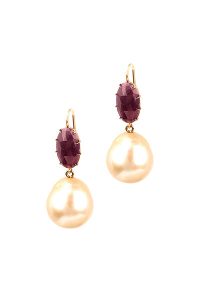 Sylva & Cie - Ruby & Pearl Drop Earrings
