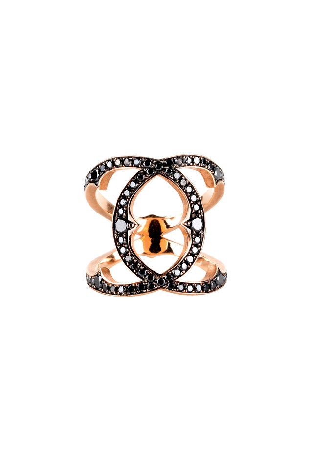14K Rose Gold Black Diamond Coco Ring