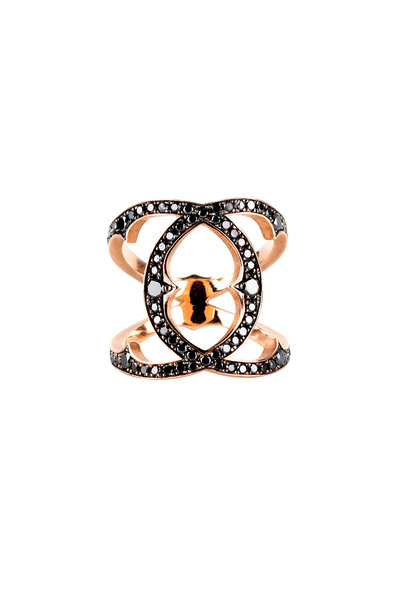 Sylva & Cie - 14K Rose Gold Black Diamond Coco Ring