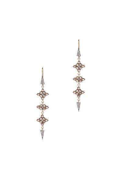 Sylva & Cie - 14K Rose GOld Champagne Diamond Drop Earrings