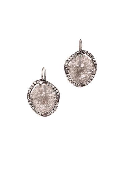 Sylva & Cie - Platinum Diamond Slice Earrings