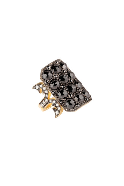 Sylva & Cie - 18K Yellow Gold Black Diamond Ten Table Ring