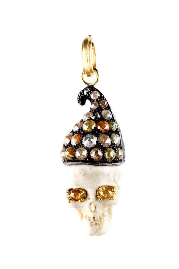 Sylva & Cie 18K Yellow Gold Rough Diamond Skull Pendant