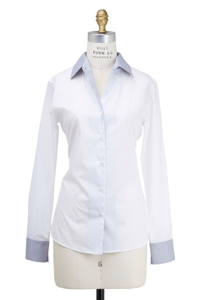 Rani Arabella - White Fitted Double Collar Blouse
