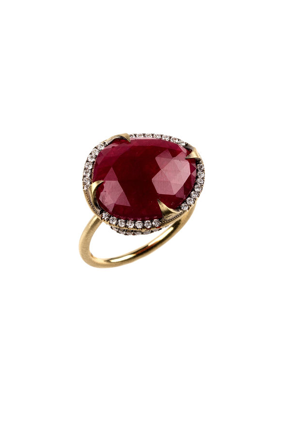 Sylva & Cie 18K Yellow Gold Ruby & Diamond Ring