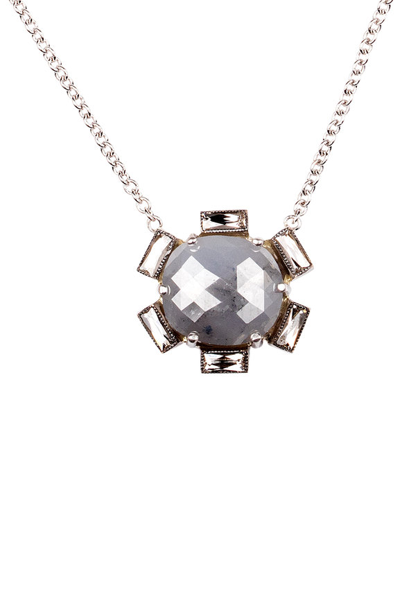 Sylva & Cie 18K White Gold Rough Diamond Necklace