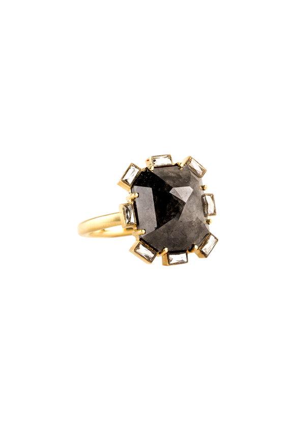 Sylva & Cie 18K Yellow Gold Rough Diamond Flower Ring