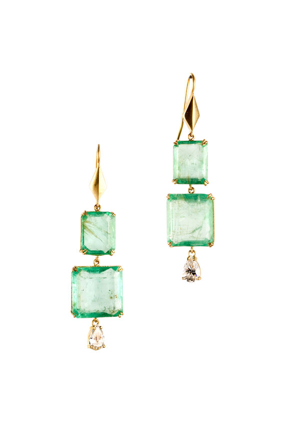 Sylva & Cie 18K Yellow Gold Emerald & Diamond Drop Earrings