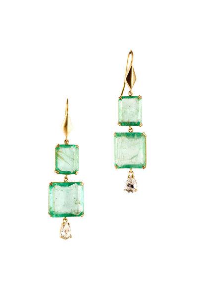 Sylva & Cie - 18K Yellow Gold Emerald & Diamond Drop Earrings
