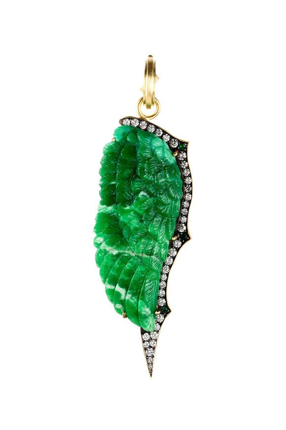Sylva & Cie 18K Yellow Gold Emerald & Diamond Wing Pendant