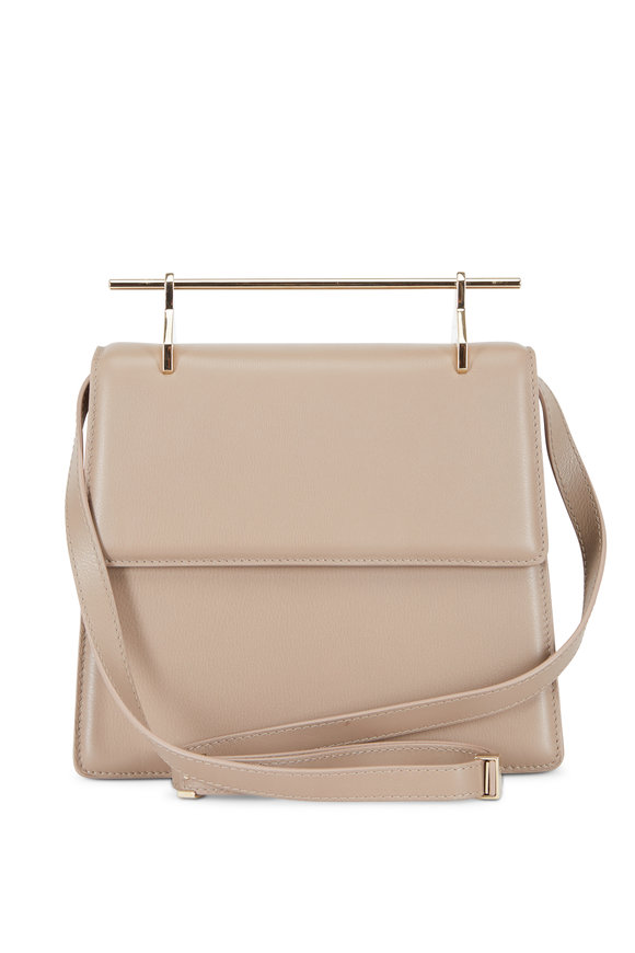 M2Malletier La Collectionneuse Taupe Leather Top Handle Bag