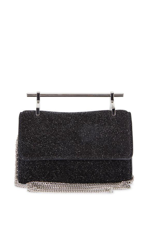 M2Malletier Mini Fabricca Cosmic Black Suede Chain Clutch