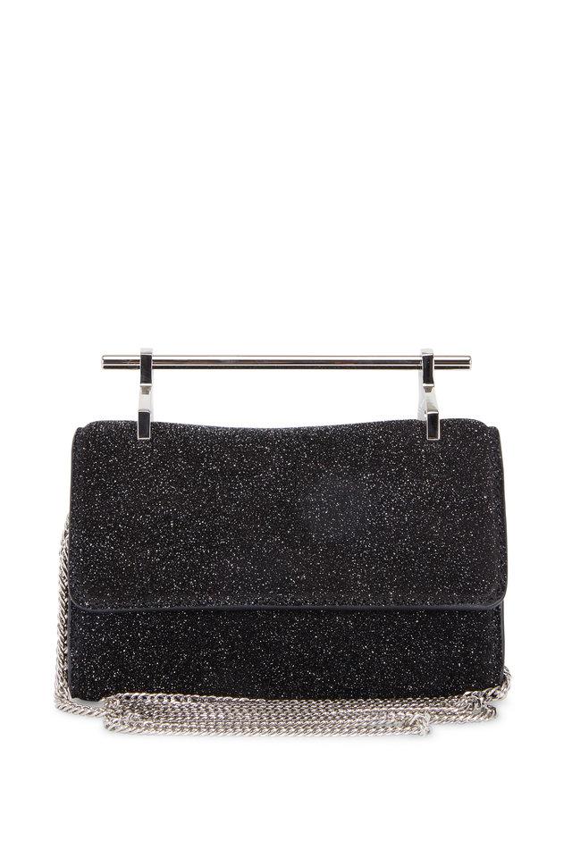 Mini Fabricca Cosmic Black Suede Chain Clutch