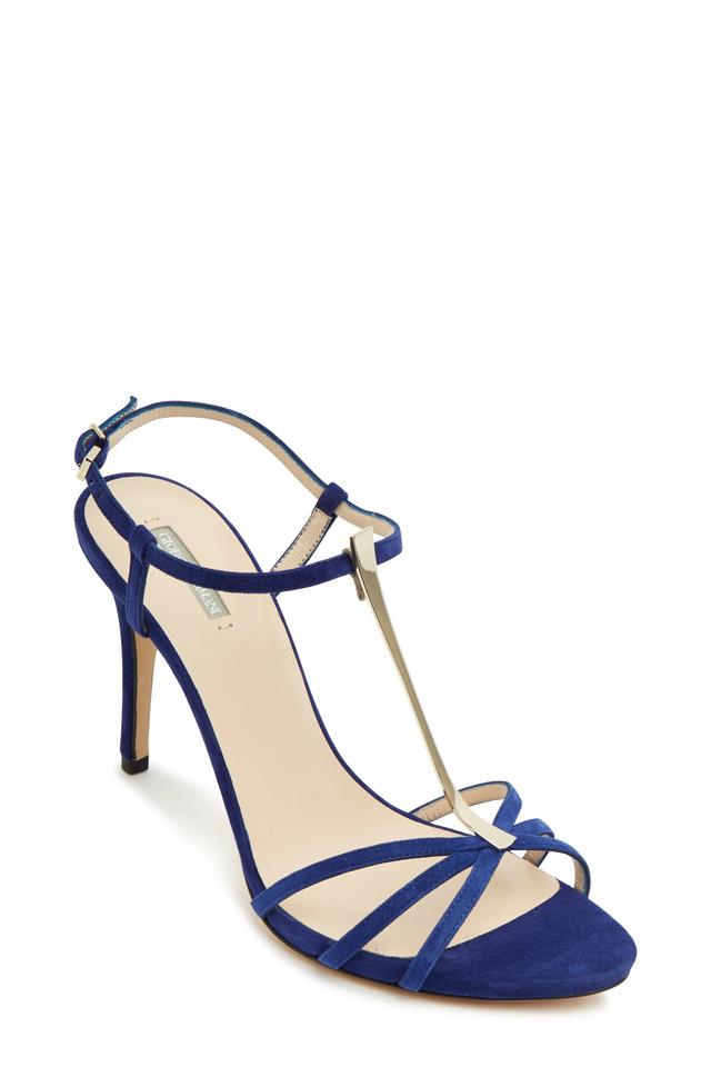 Blue Suede & Metallic T-Strap Sandals