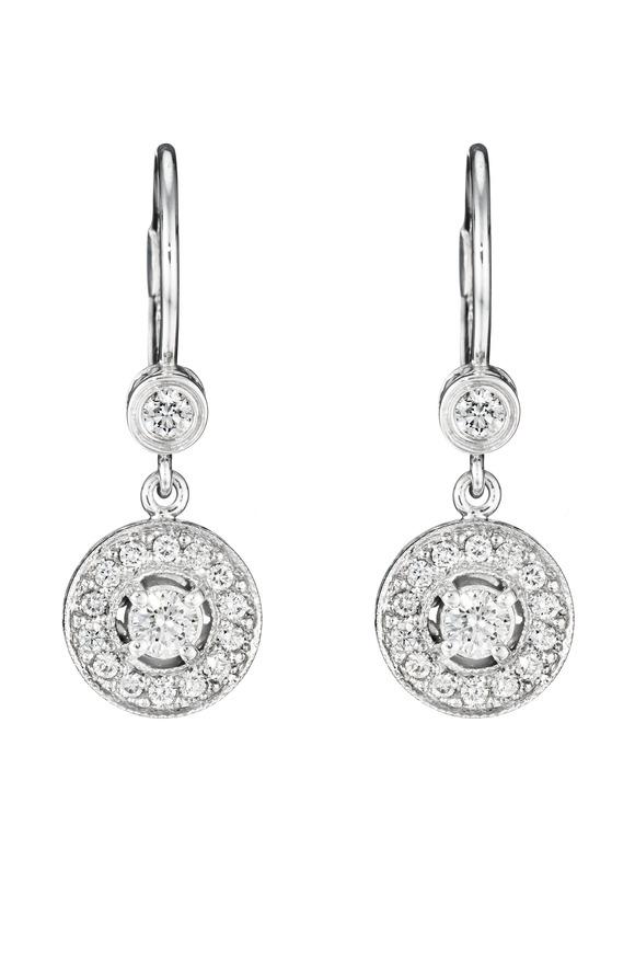 Penny Preville White Gold Medium Pave Diamond Earrings