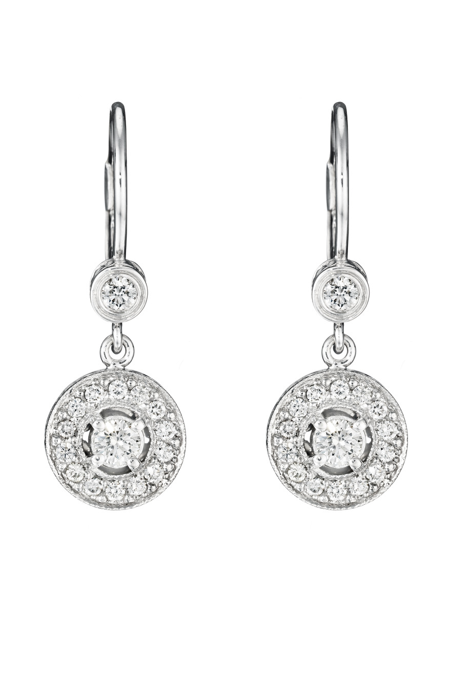 White Gold Medium Pave Diamond Earrings