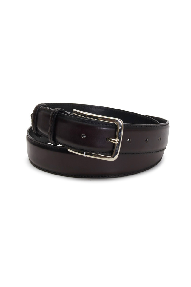 Antiqued Brown Leather Belt