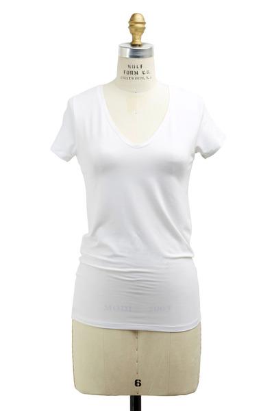 Majestic - White Viscose T-Shirt