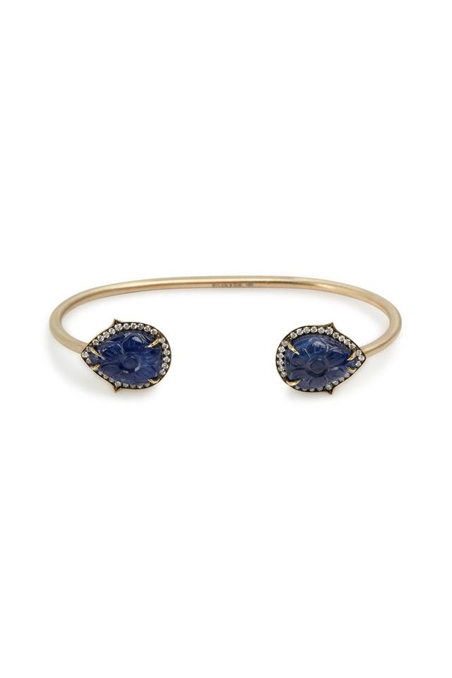 Gold Silver Burmese Sapphire Diamond Cuff Bracelet