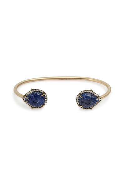 Sylva & Cie - Gold Silver Burmese Sapphire Diamond Cuff Bracelet
