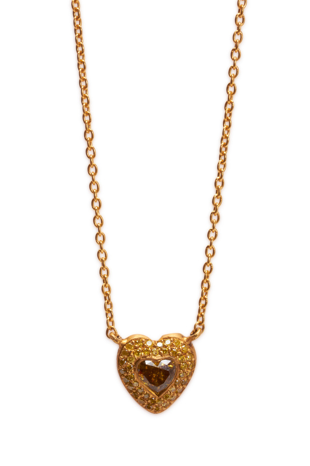 Gold Clara Heart Stone Necklace