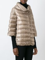 Herno - Taupe Three-Quarter Sleeve Puffer Cape