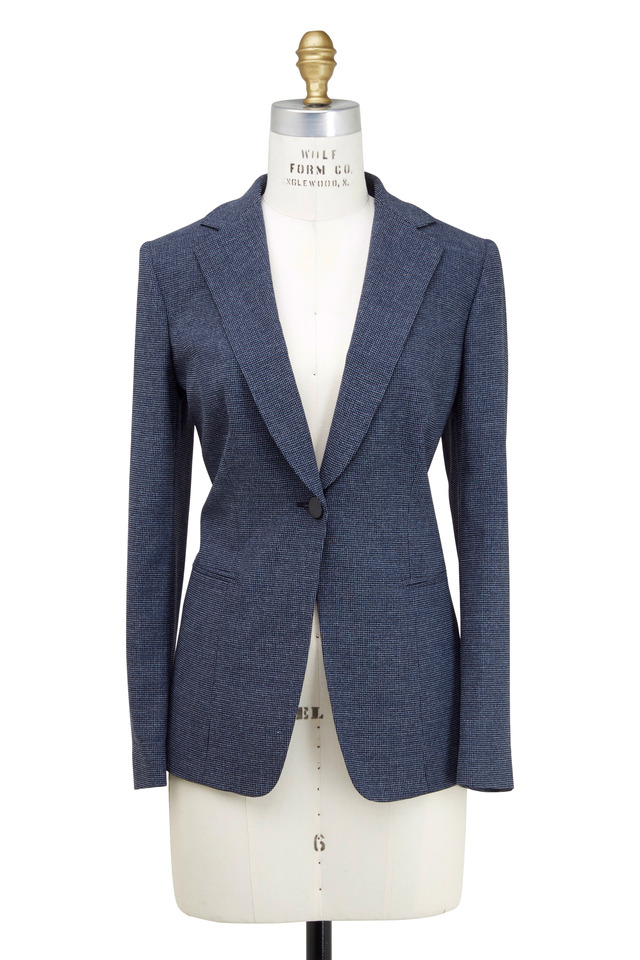 Navy Blue 1-Button Notch Collar Mini Check Jacket