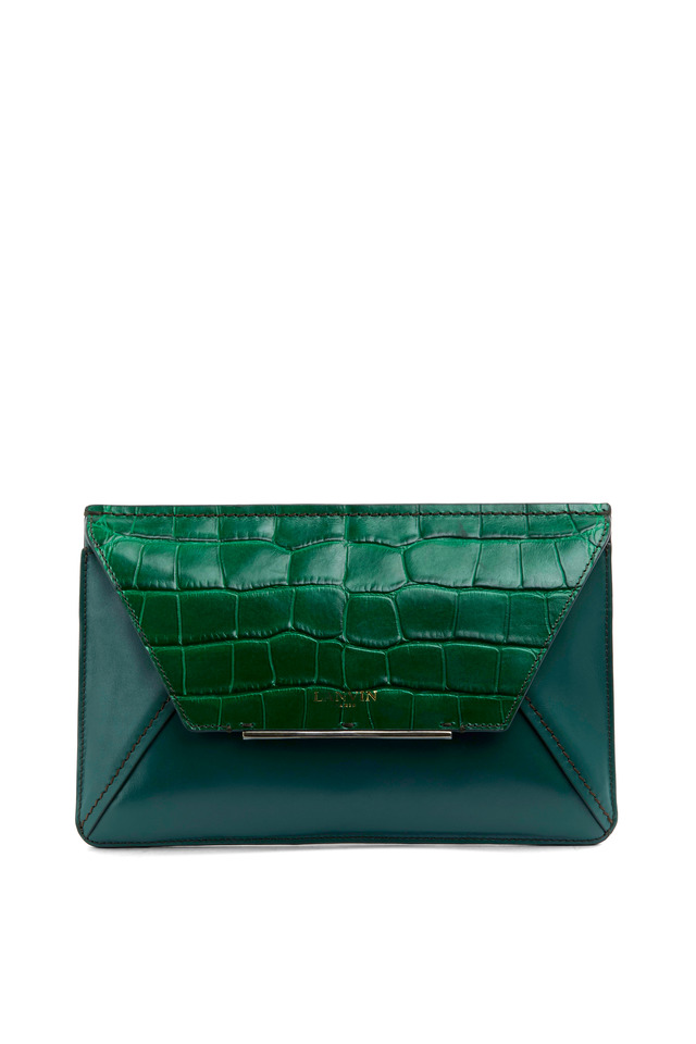 Green Leather and Crocodile Flap Clutch