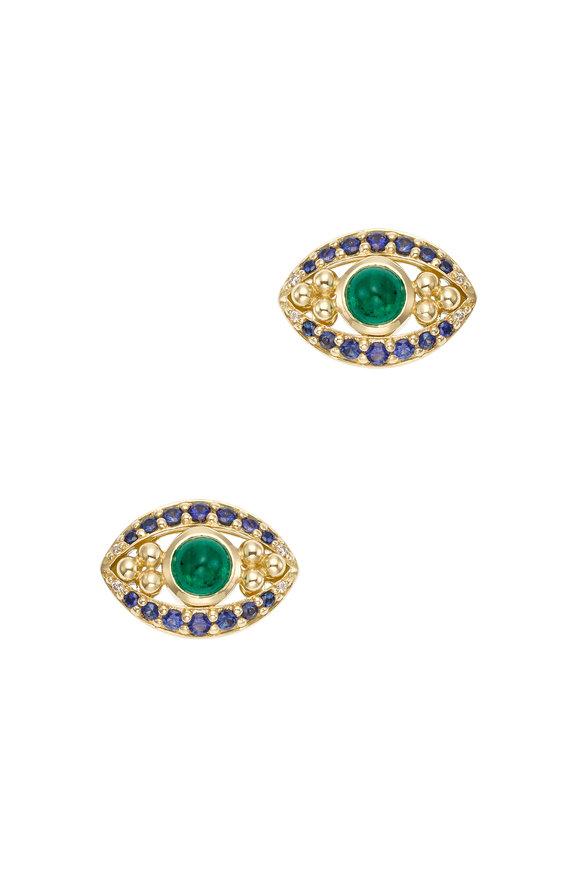 Temple St. Clair 18K Gold Emerald & Sapphire Evil Eye Earrings
