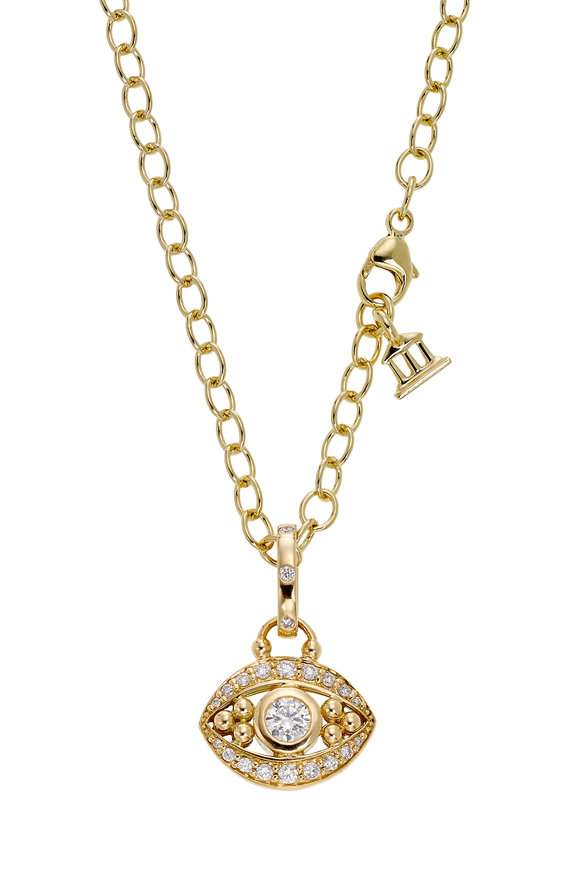 Temple St. Clair 18K Yellow Gold Pavé Diamond Evil Eye Charm