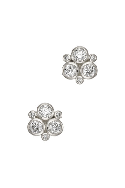 Temple St. Clair - 18K White Gold Diamond Trio Studs