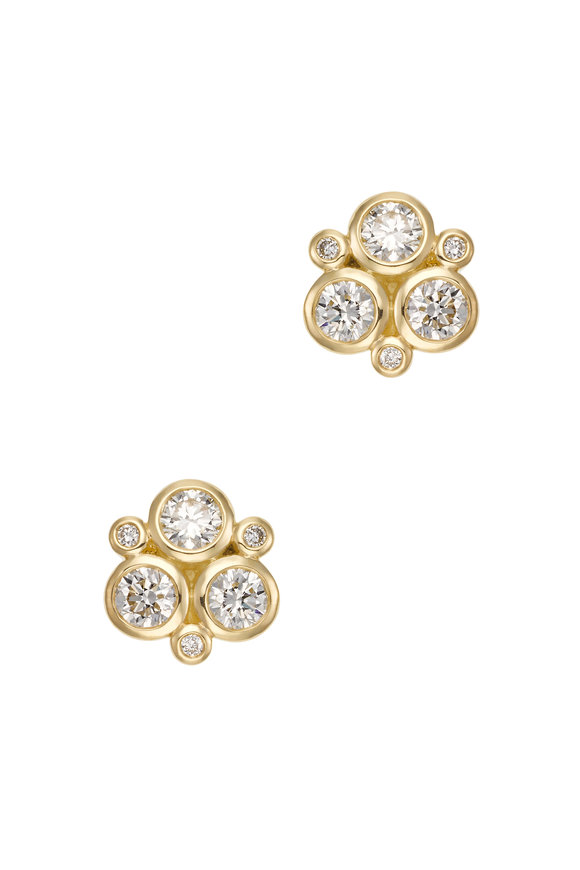 Temple St. Clair 18K Yellow Gold Diamond Trio Studs
