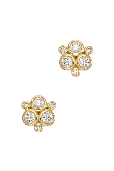 Temple St. Clair - 18K Yellow Gold Diamond Trio Studs