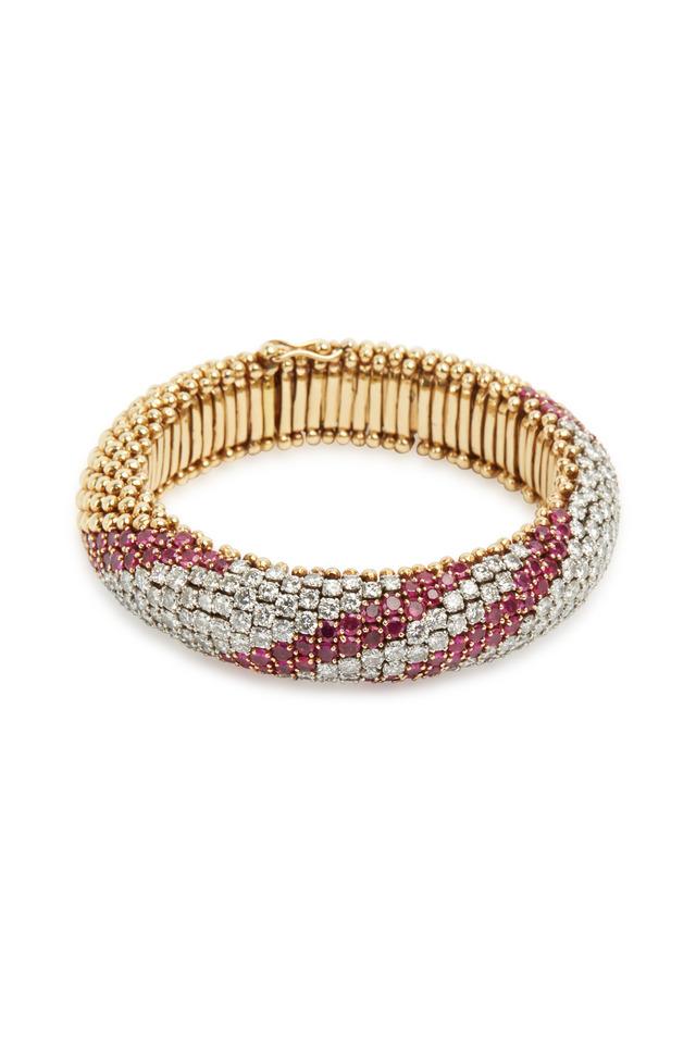 Yellow Gold Ruby & Diamond Striped Flex Bracelet