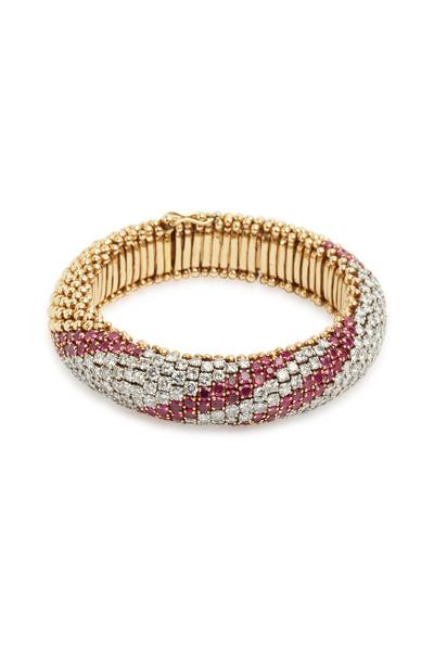 Fred Leighton - Yellow Gold Ruby & Diamond Striped Flex Bracelet