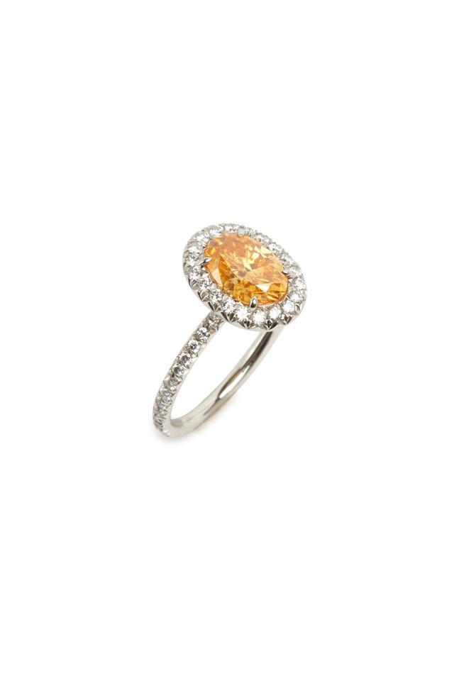 Platinum Oval Fancy Intense Yellow Diamond Ring