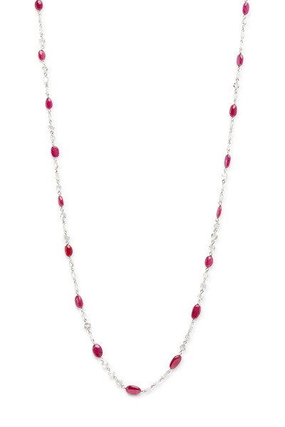 Fred Leighton - White Gold Ruby & Diamond Chain Necklace