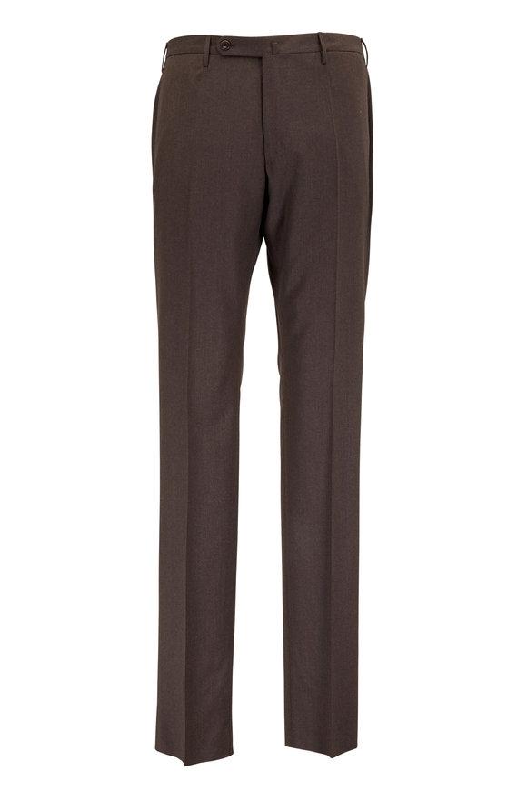 Incotex Benson Brown Wool Stretch Pant
