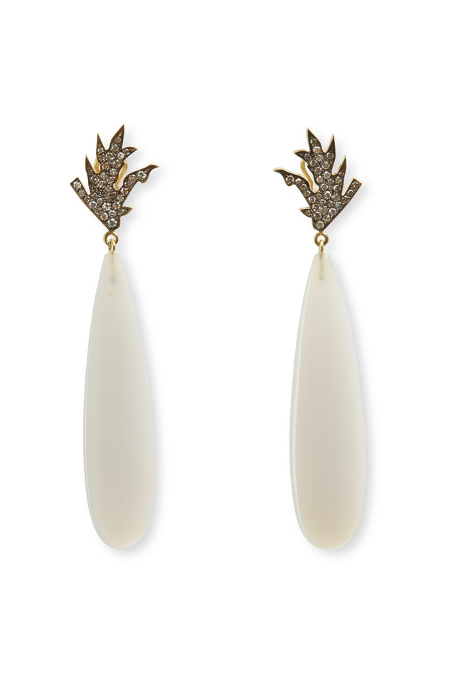 18K Gold Agate & Diamond Drop Earrings