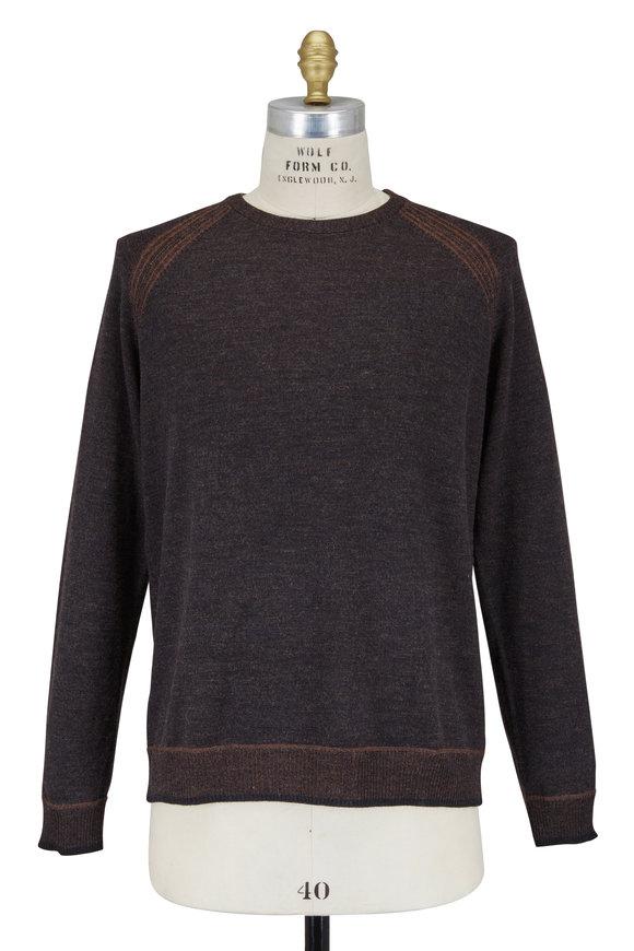 Robert Graham Filberto Heather Charcoal Merino Crewneck Sweater