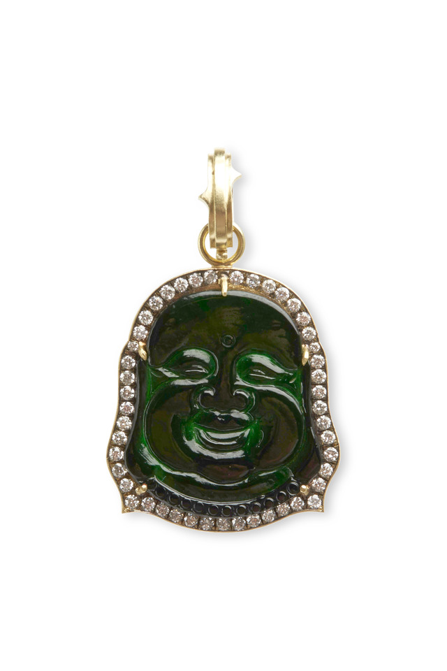 Yellow Gold Black Jade Diamond Buddha Pendant