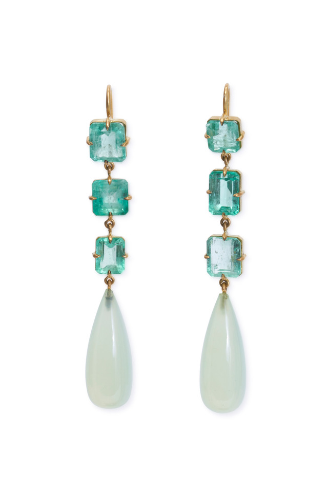 Yellow Gold Chalcedony & Emerald Drop Earrings