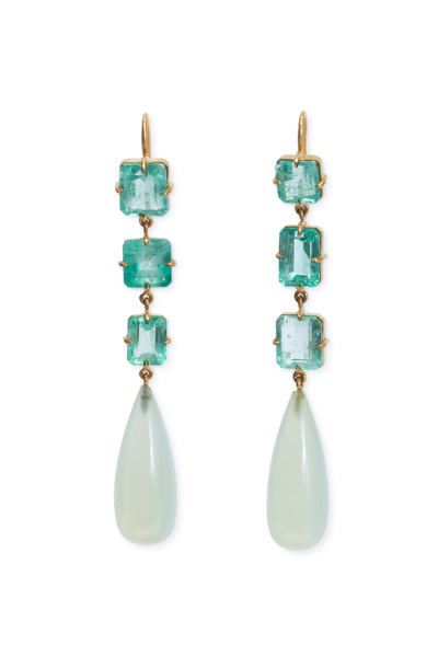 Sylva & Cie - Yellow Gold Chalcedony & Emerald Drop Earrings