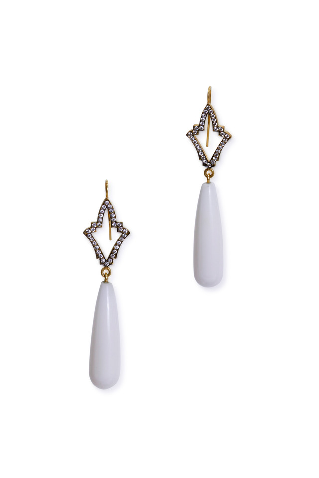 Yellow Gold Cacholong Drop Diamond Earrings